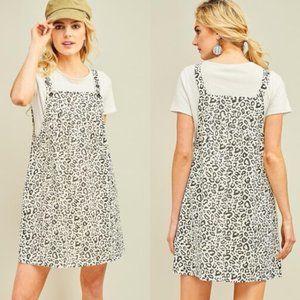 ENTRO Cheetah Print Denim Overall Dress S